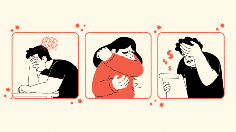Graphic of three stressed people