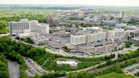 Aerial image of the University of Michigan Health System, Ann Arbor campus
