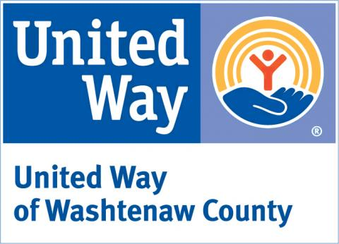 United Way logo with United Way in white letters on blue background and United Way of Washtenaw County in blue letters on white background below