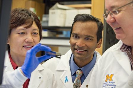 One researcher holds a chip between her fingers while two other researchers look on