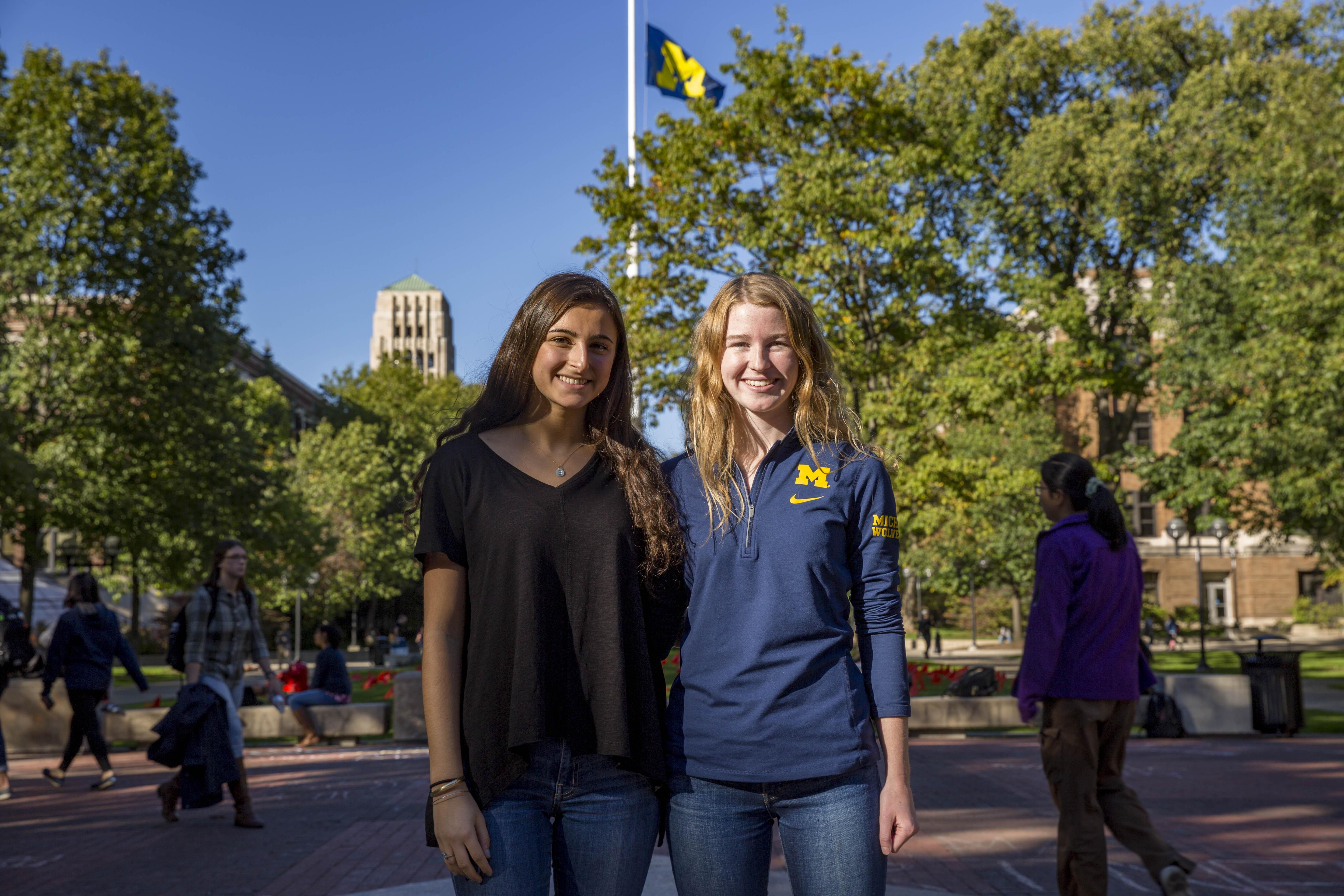 Students Blake Rogelsky and Meghan Hoffman on the University of Michigan campus