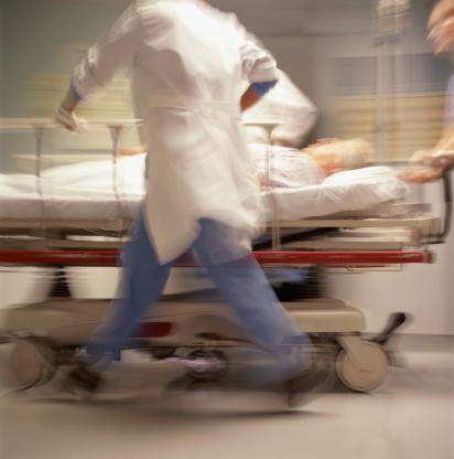 A patient is rushed to the emergency room